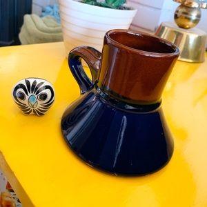 Vintage Travel Coffee Mug and Folk Ceramic Owl